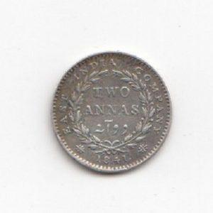 1841 Indian Silver 2 Annas