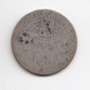 1865 Queen Victoria Silver Gothic Florin