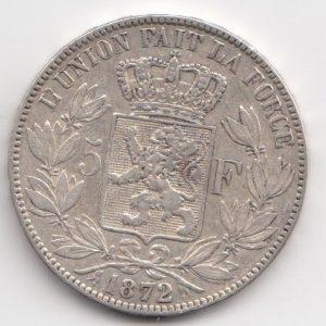 1872 Belgium 5 Francs