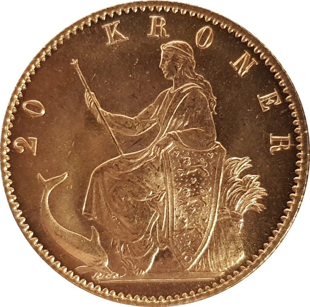 1873 Danish 20 Kroner Reverse