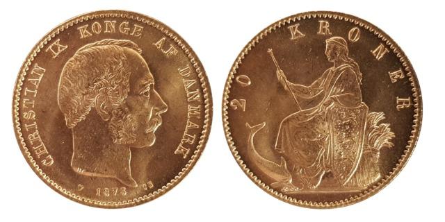 1873 Danish 20 Kroner