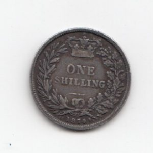 1874 Queen Victoria Silver Shilling - Die Number 16