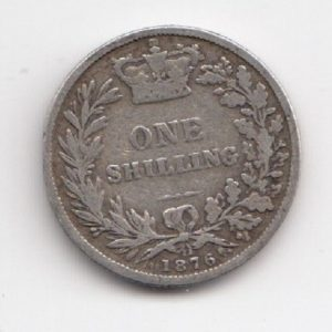 1876 Queen Victoria Silver Shilling - Die Number 11