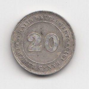 1878 Straits Settlement Silver 20 Cent