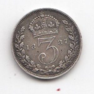 1887 Queen Victoria Silver Threepence