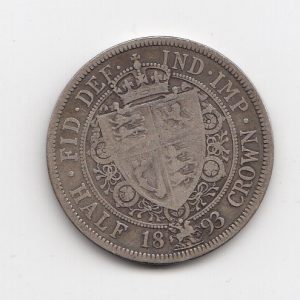 1893 Queen Victoria Silver Half Crown