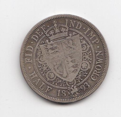 1893 Queen Victoria Silver Half Crown