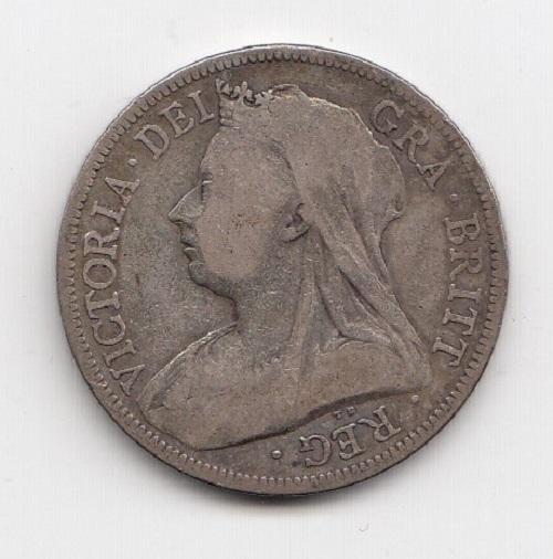 1893 Queen Victoria Silver Half Crown Obverse