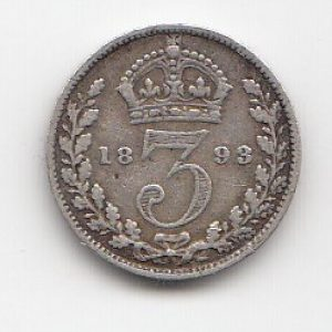 1893 Queen Victoria Silver Threepence