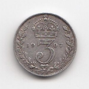 1907 King George V Silver Threepence