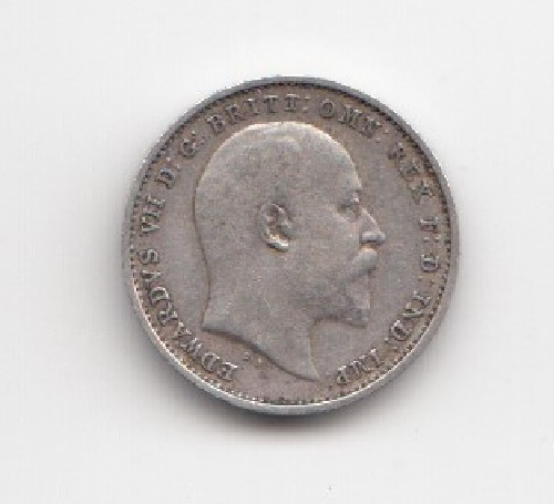 1907 King George V Silver Threepence Obverse