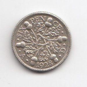 1928 King George V Sixpence