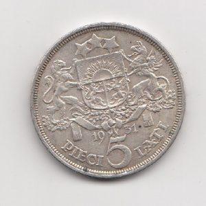 1931 Latvian Silver 5 Lati