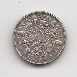 1933 King George V Sixpence