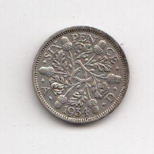 1934 King George V Sixpence