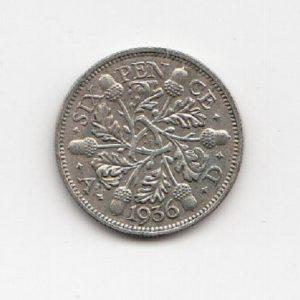 1936 King George V sixpence