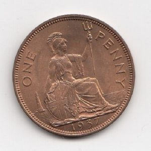 1937 King George V Penny With Lustre