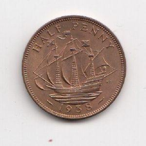 1938 King George VI Half Penny