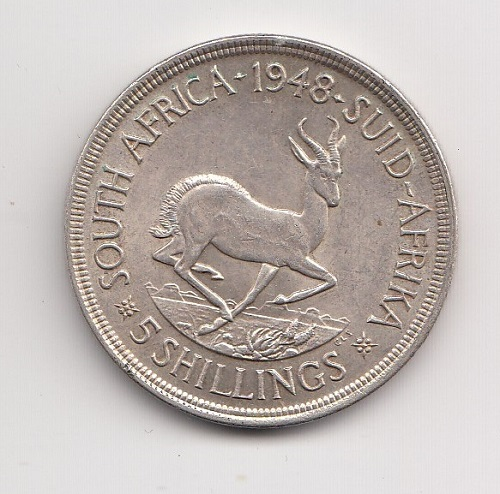 1948 South Africa Silver Five Shillings (Crown)