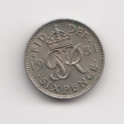 1951 Sixpence - King George VI