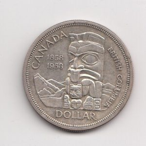 1958 Canada 100th Anni British Columbia Silver Dollar