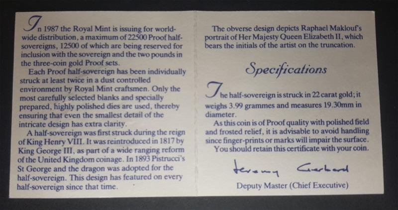 1987 Proof Half-Sovereign
