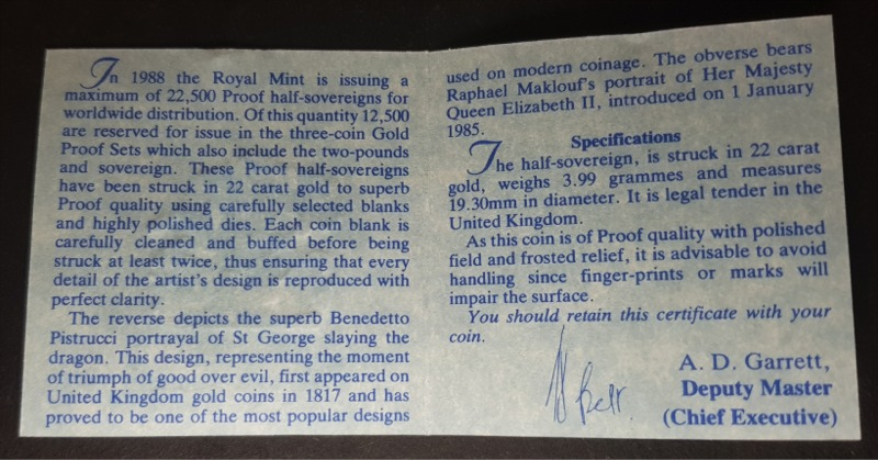 1988 Proof Half-Sovereign