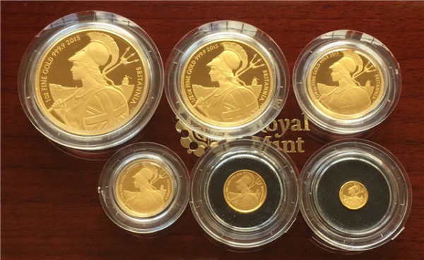 2015 Gold Proof Britannia 6-Coin Set Reverse