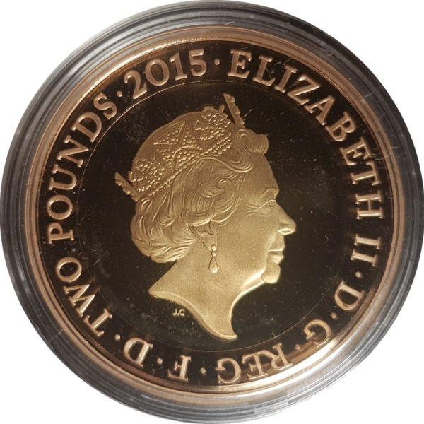 2015 Gold Two Pound Magna Carta Reverse
