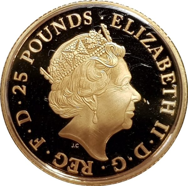 2017 Queens Beasts English Lion Gold Quarter Ounce Obverse