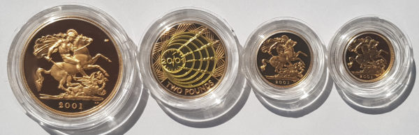 2001 4 Coin Gold Proof Sovereign Set