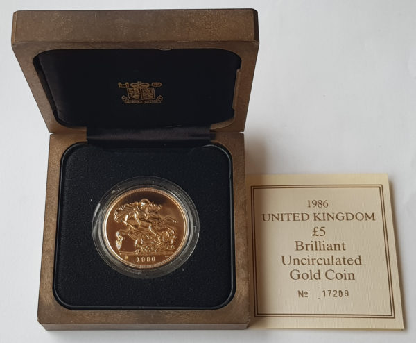1986 Brilliant Uncirculated Gold Five Pounds