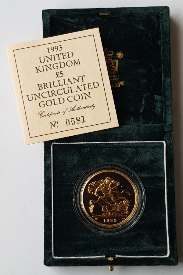 1993 Brilliant Uncirculated Gold Five Pounds