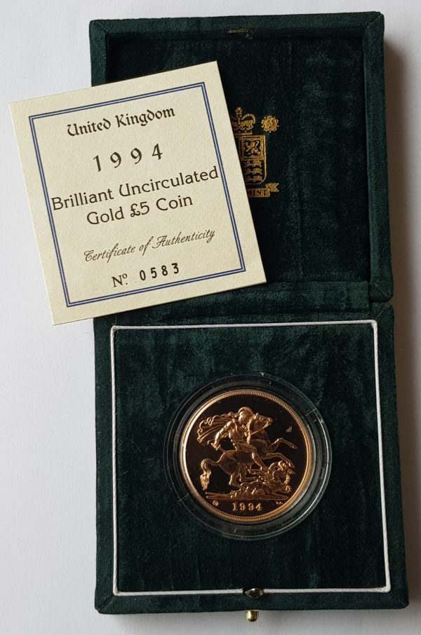 1994 Brilliant Uncirculated Gold Five Pounds