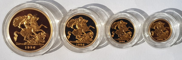 1996 4 Coin Gold Proof Sovereign Set