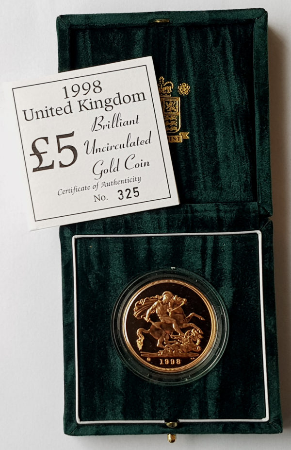 1998 Brilliant Uncirculated Gold Five Pounds