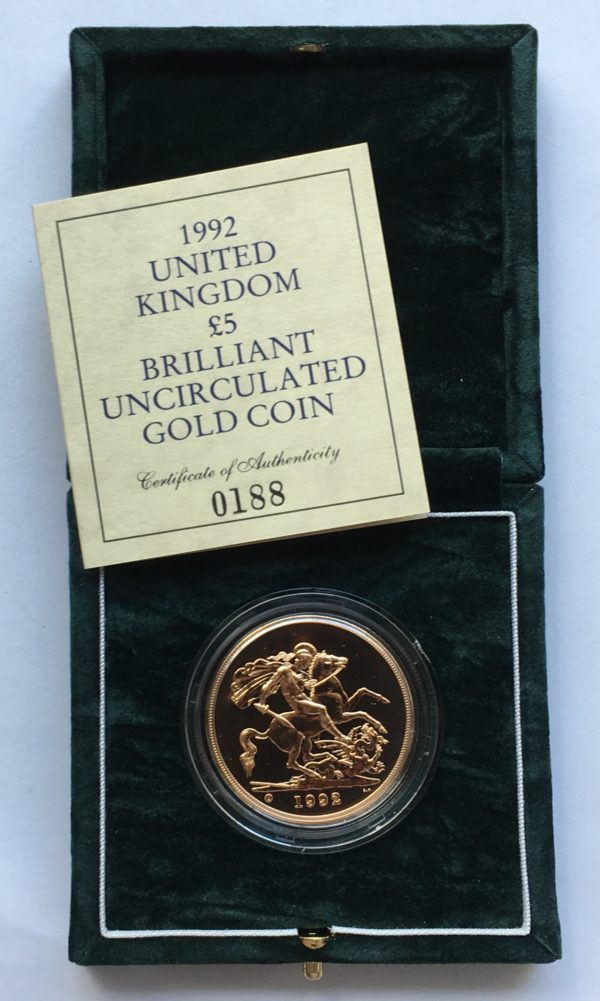 1992 Brilliant Uncirculated Gold Five Pounds
