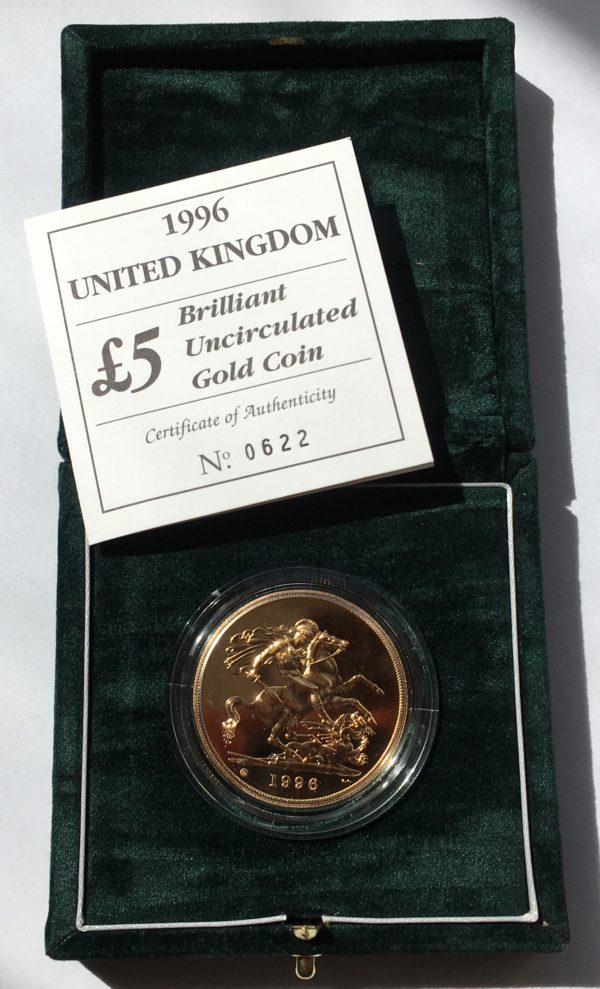 1996 Brilliant Uncirculated Gold Five Pounds