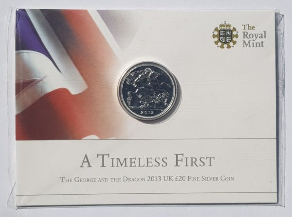 2013 St George Silver Twenty Pounds £20