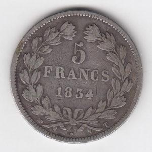 1834 Silver Five Francs