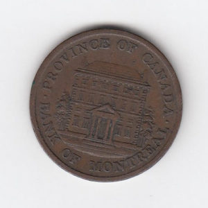 1842 Montreal Half Penny Bank Token