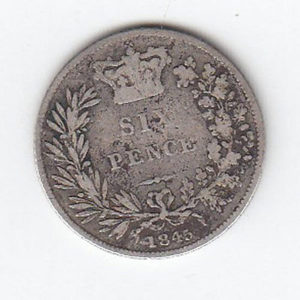 1845 Queen Victoria Silver Sixpence