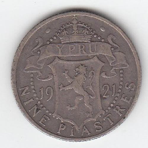 1921 Cyprus Nine Piastres