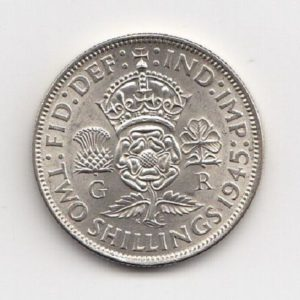 1945 King George VI Silver Two Shillings