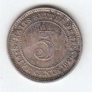 1926 Straits Settlement 5 Cents