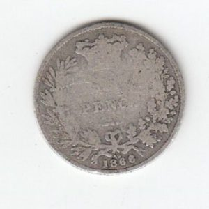 1866 Queen Victoria Silver Sixpence