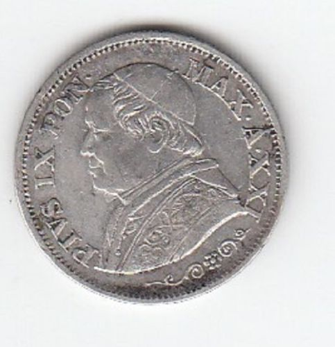 Obverse 1867 Papal States Silver 10 Solde