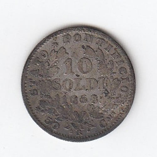 1868 Papal States 10 Solde
