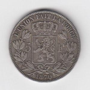 1870 King Leopald Silver 5 Francs