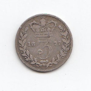 1877 Queen Victoria Silver Threepence